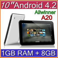 10 inch Android 4.2 8GB DHL 200PCS 10 Inch 2014 A20 Dual Core Tablet PC MID Boxchip Android 4.2 1GB RAM Capacitive Touch Screen Google HDMI Wifi Camera PAD-A