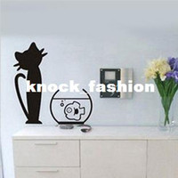 Wholesale Cat Bowl Fish Wall Sticker Living Room Bedroom Decor Home Window Glass Art Decoration Decals W145