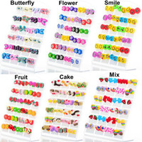 american needle - 48pairs pairs Fashion Cute Butterfly Flower Smile Fruit Cake Mix Deign Polymer Clay Stud Earrings Glue Needle Not Allergic For Children