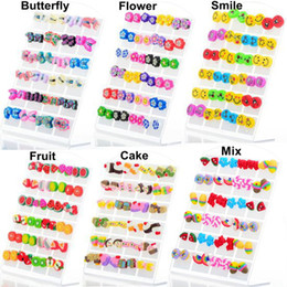 Wholesale 48pairs pairs Fashion Cute Butterfly Flower Smile Fruit Cake Mix Deign Polymer Clay Stud Earrings Glue Needle Not Allergic For Children