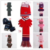 Wholesale R4585 Fashionable Knitting Unisex Winter hat scarf and glove set kids hats baby hat set children accessories
