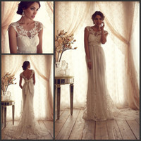 Empire anna campbell - Anna Campbell Lace Wedding Dresses Sheer Top A line Court Train Empire Waist Capped Sleeve Champagne Bridal Gowns Beach Wedding Dresses
