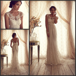 Wholesale Anna Campbell Lace Wedding Dresses Sheer Top A line Court Train Empire Cap Sleeve Champagne Bridal Gowns