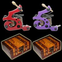 Wholesale Hot Top Handmade Tattoo Machine Gun Shader Liner gift wood box A003