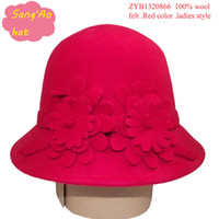 Wholesale Fashion Red new women bucket caps for keep warm100 wool felt for fall or party festival with trilby style could adjust size