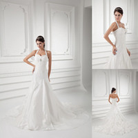 Wholesale 2014 New Design Beautiful Elegant A Line Sexy Applique Sparking Crystal Pleat Lace up Sleeveless Halter Vogue Wedding Dresses