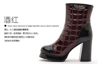 Wholesale new Locomotive thick with short boots boots boots in patent leather high heels women boots Martin boots