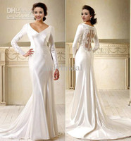 Wholesale 2012 Vogue V neck Long Sleeves Court Train Lace White Satin Bella Wedding Dresses Bridal Dresses