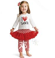 al por mayor i santa tutú-Regalos de Navidad de la muchacha de la camiseta blanca de Santa Rosa I love Polar punto Tutu superado que se adapta al juego de las polainas de la muchacha del cabrito Ropa QS1
