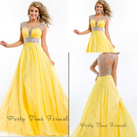 Breathtaking See Through 2014 Sexy Prom Dresses Jewel Yellow...