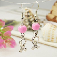 Wholesale Hope Breast Cancer Earrings Pink Awareness Ribbon Charms and Brass Earring Hook PearlPink mm