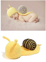 Cheap Cute Yellow Snail Baby Costume Photo Photography Prop Toddler Knit Crochet Beanie Hat Cap 5sets CAP11