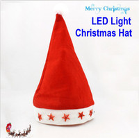 Wholesale 300PCS Children s Christmas Cap Adult LED Light Christmas Hat Santa Cap Christmas Gifts Red Decoration Hats Girsl and Boys