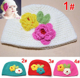 Wholesale Handmade Baby Hat Crochet Hat Kids Wool Knitted Double Flower Cap Children Cotton Beanie Infant Toddler Hats Flower Earflap colors