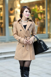 Wholesale Korean winter long section women fashion Slim double breasted women coat khaki black woolen coats with belt