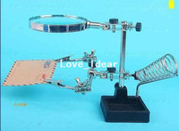 Wholesale Third Hand Soldering Solder Iron Stand Holder Station with Magnifier Helping watch repair Tool Kit