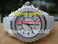 man made diamond - Luxury Mens Ceramic Bracelet Diamond Watch Men White Dial Swiss Made Watches Sports Dress Wristwatch