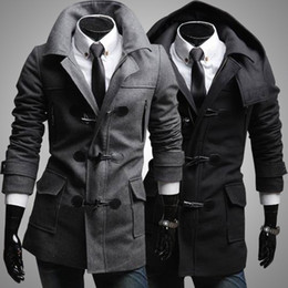 Wholesale 2014 New British Fashion Men Wool Coats Winter Slim Coat Long Single breasted Trench Coat Zipper Pockets Button Design Warm Coats