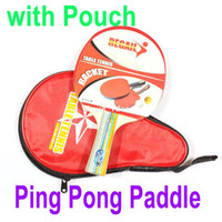 Wholesale Long Handle Shake hand Table Tennis Racket Ping Pong Paddle Waterproof Bag Pouch Red Sports Accessories