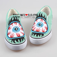 stripper shoes - Harajuku candy stripper hand painted shoes eyes doodle canvas shoes