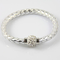 Wholesale Finding Silver Leather Wristband Cuff Magnetic Buckle Rhinestone Clasp Bracelet Bangle
