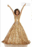 Wholesale 2013 Hot Halter Sequins Gold Ball gown Sequins Glitz pageant dresses Girl s Party Dresses S