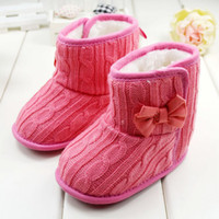 Wholesale Infant First Walker Shoes Hot Sale Colour Pink Watermelon Red Colour Bowknot Wool Fleece Warm Baby Boots M Toddler Girls Shoes QZ99