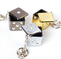 Wholesale New High grade Key Chain Ring Dice Shape Ashtray Mini Type Craps Christmas Gift
