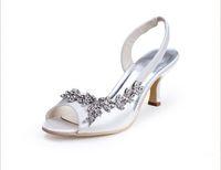 Rhinestone rhinestone shoes - Rhinestone white ivory wedding bridal sandals slingback with rhinestone summer women satin custom made medium heel shoes evening party shoes
