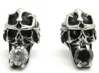 Wholesale Unisex Punk Pair Skull Fashion Earrings Ear Studs Crystal Inlay L Stainless Steel Ear Pin Jewellery