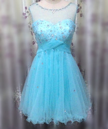 In Stock Beautiful A Line New Beaded Lace Crystal Tulle Light Blue Formal Cocktail Party Homecoming Short Prom Dresses