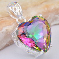 Wholesale Hot Selling Fashion Europestyle Finding Charms Heart Rainbow Fire Natural Mystic Topaz Silver Pendant CP0730
