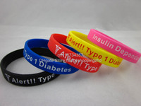 South American Unisex Gift Type 1 Diatebets Insulin Dependent Medical Alert Wristband, Silicon Bracelet, 5colours, 100pcs lot, free shipping