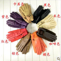 Wholesale Women And Man Winter Genuine Leather Gloves Sheepskin Wool Gloves Warm Leather Mittens k0764