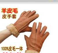 Wholesale New Women And Man Winter Genuine Leather Gloves Sheepskin Wool Gloves Warm Leather Mittens t0764