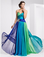 Strapless 2011 prom - New Onbre Chiffon Strapless Gown Evenings Dress TBE11159 Prom Dresses Floor Length Ruched Skirt