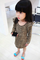 Wholesale Girls leopard dress fashion kids long sleeve dresses mini dress Slim skirt girl s one piece dress Children s dress
