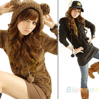 Wholesale New Women Korean Fashion Cute Bear Bunny Ears Fleece Sweat Hoodie Long Outwear Black Brown Beige