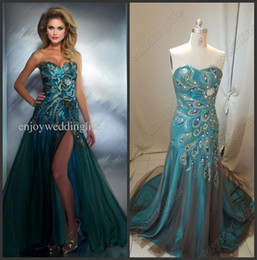 Wholesale 2013 Sexy Sweetheart Tulle Crystals Prom Dresses Beaded Applique Peacock Evening Gown M to get one bracelet free