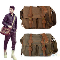 Wholesale Men s Retro Vintage Canvas and Genuine excellent Cowhide Leather School Military Shoulder Messenger Luggage Travel Bag Ziper