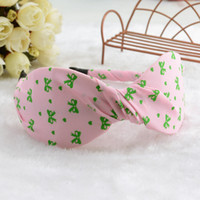 Wholesale South Korea orders eight characters kink large bow ribbon stripe fabric headband Korean wave point hair bands