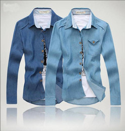 Wholesale fashion spring new Korean men cultivating long sleeved shirt