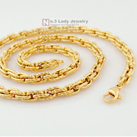 Wholesale 2013 New Arrivals K Gold Plated GP Stainless Steel Chain Necklace For Mens Jewelry Fashion WN111
