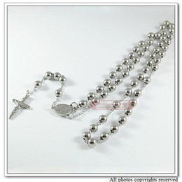 """Religious Jewelry Catholic, Fashion Stainless Steel Men Rosary Bead Necklace, 29"""" Long, Wholesale Free Shipping WRN03"""