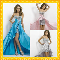 Wholesale High low Cheap Prom Dresses Bling Bling Crystals Sequined Pink Silver Red Hunter Custom Made Women Formal Evening Party Gowns Gorgeous