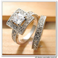 Wholesale New Alloy with18k White Gold Plated CZ Zirconia Womens Wedding Rings Classic Jewelry Engagement WR039