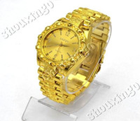 Men's Round 27 Quartz Wrist Watches Kirsite Metal Plated Gold Band Watch For Men Charm Elegant Fashion Jewelry nb0028