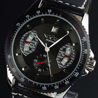 Wholesale Winner Black PU Leather Automatic Mechanical Skeleton Watch For Men Fashion Jewelry Clock Watches Hight Quality