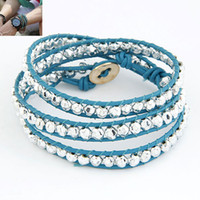 Wholesale Multilayer Beaded Leather Wrap Bracelets Womens Mens Handmade Wristbands Jewelry Colors Mix