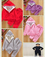 Spring / Autumn baby lambs sale - Ho Sale New Children s Outfits Autumn baby boy girl s sets sport suits winter wear Lambs wool suit